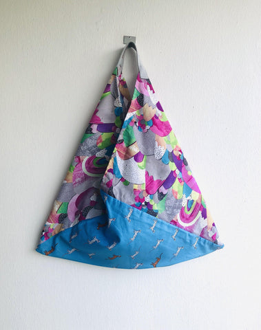 Origami bento bag , tote shoulder fabric triangle bag | leopards running in a glittery colorful world