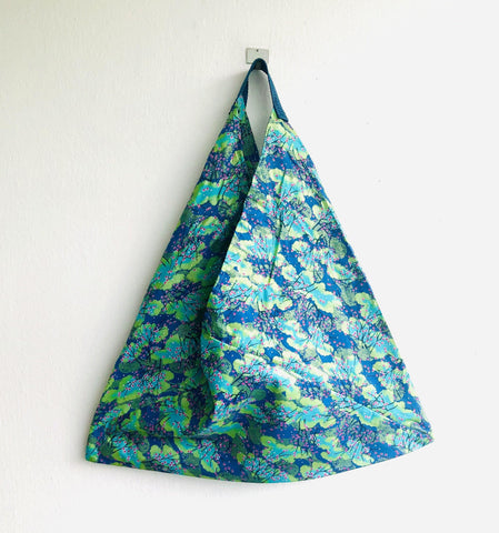 Origami bento bag , shoulder tote bag , Japanese inspired bag | Japanese blue blossoms