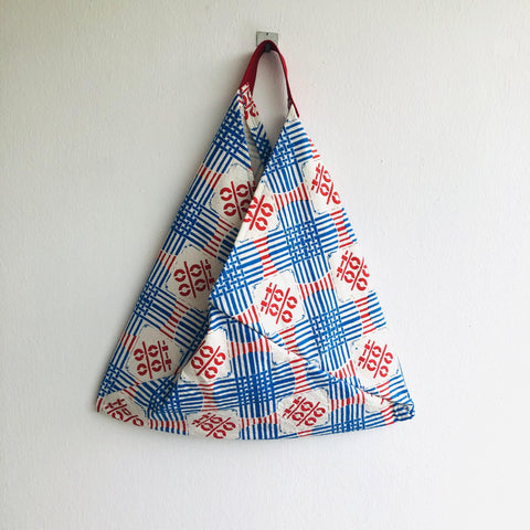 Shoulder origami bento bag , triangle tote silkscreen fabric print  | Wedding day