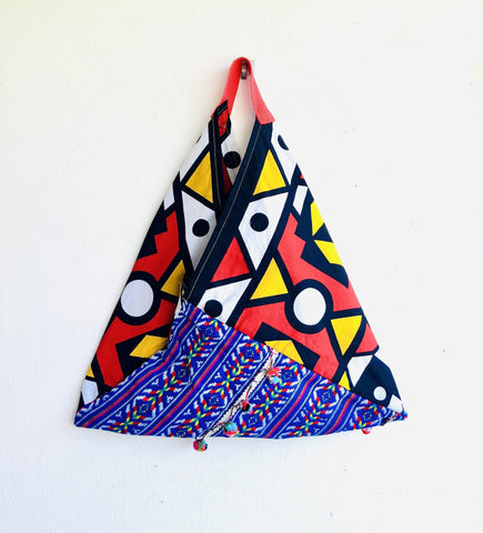 Origami African bento bag , shopping shoulder tote bag | African pom poms