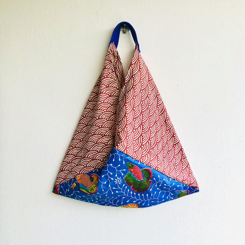Origami bento bag , shoulder handmade fabric bag ,colorful Japanese inspired bag | Colorful fish surfing  summer waves