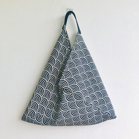Bento origami bag , shoulder handmade fabric bag, Japanese inspired bag | Black & white waves