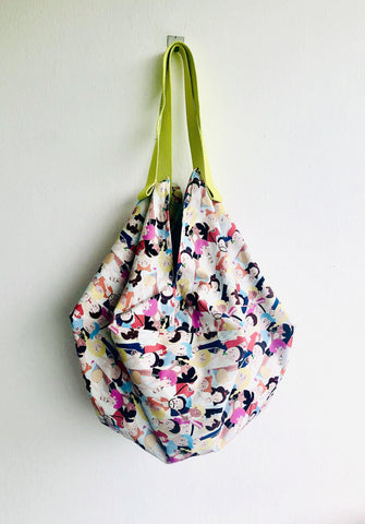Sac origami bag , shoulder fabric reversible bag | Hanging out & drinking bubble tea
