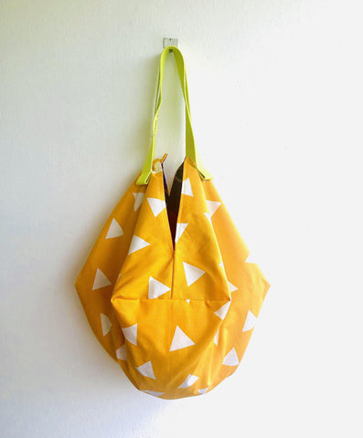 Sac bag , origami reversible fabric bag , handmade tote bag | Pumpkin