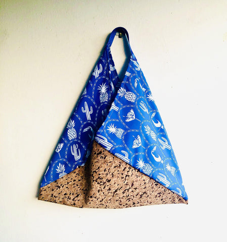 Eco friendly shoulder bag , origami Japanese inspired bento bag |cork and tropical nights