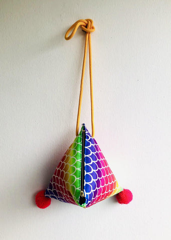 Dumpling shoulder bag , pom pom triangle bag , cross shoulder cute bag | Aquarius rainbow