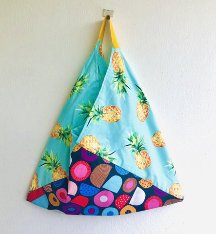 Eco friendly cotton tote origami bento bag | Colorful tropical fruit