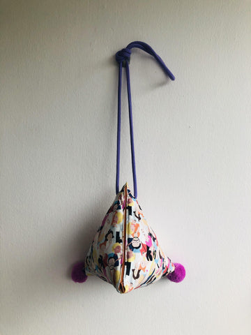 Cute pom pom bag , triangle origami cross body bag ,dumpling fabric bag | Bubble tea & pom poms
