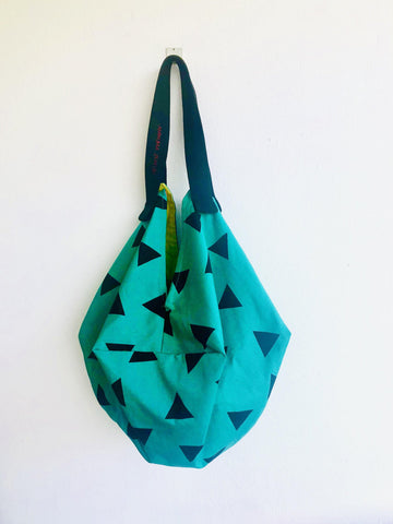 Origami sac shoulder bag , reversible tote fabric bag , colorful sac bag | The Grinch