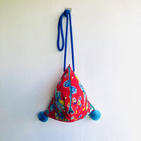Origami small cute bag , pom pom red bag , dumpling shoulder fabric bag | Rising like a Phoenix  in a garden in Shanghai
