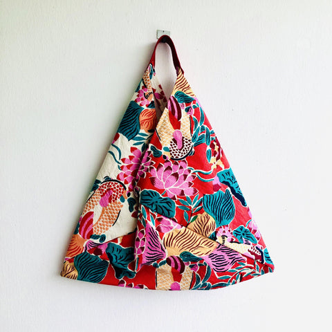 Bento origami bag , shoulder tote colorful bag , eco silkscreen print fabric bag | Cadmium red & pink garden in Shanghai