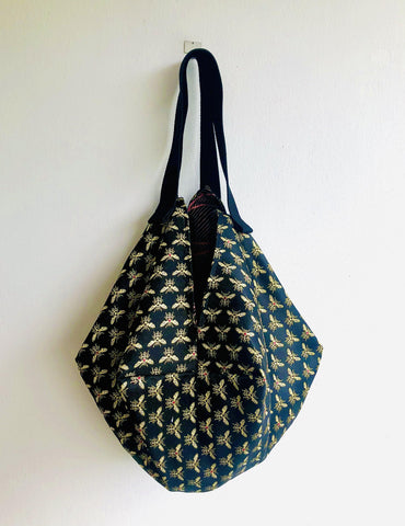 Origami sac shoulder bag , reversible cool fabrics large tote bag | Abejas modernistas