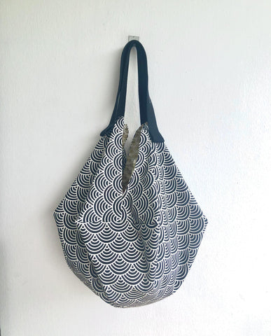 Japanese inspired bag , Japanese wave print fabric handmade sac bag , reversible eco bag | Waves & Gold