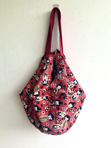 Origami sac reversible bag , two bags in one , eco friendly cool bag | red Kokeshi