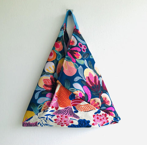 Origami bento bag , shoulder tote bag, handmade Japanese inspired bag | Beautiful garden and lotus pound with koi fish swimming