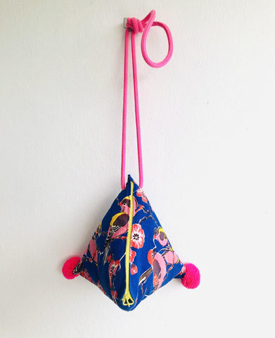 One of a kind shoulder bag, small triangle dumpling bag , colorful pom pom bag | Birds in a blue garden in Shanghai