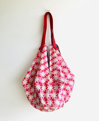 Origami sac shoulder bag , reversible Japanese inspired fabric bag | Sea stars and Japanese flower universe