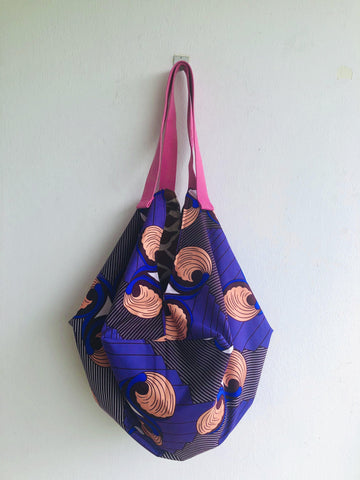 Handmade fabric reversible shopping origami shoulder sac bag | Vintage