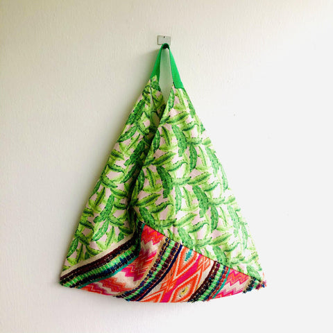 Bento origami bag , shoulder tote colorful fabric bag , boho bento bag | Leaves from the trees of Mendoza