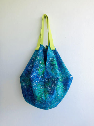 Origami sac bag , shoulder reversible fabric bag , Japanese inspired colorful bag | The sea universe