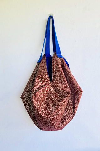 Sac origami bag , shoulder reversible Japanese inspired bag | Autumn in the gardens of Tokyo