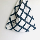 Bento tote bag , shoulder handmade triangle bag , eco friendly shopping bag | Winter minimalist landscape