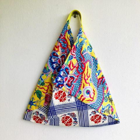 Origami bento shoulder bag , tote fabric colorful bag , silk print fabric shopping bag | Xi & the lucky dragon
