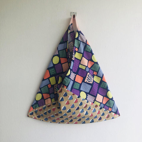 Tote shoulder bag , origami bento bag , Japanese inspired bag , colorful eco bag | Dessert time
