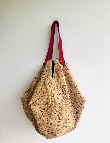 Cork sac bag , shoulder handmade eco friendly origami bag , reversible tote shopping bag | Raw cork & Batik