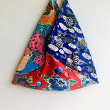 Origami bento bag , shoulder tote colorful ecc bag | Lucky dragons  flying in a blue sky over a pond with beautiful flowers