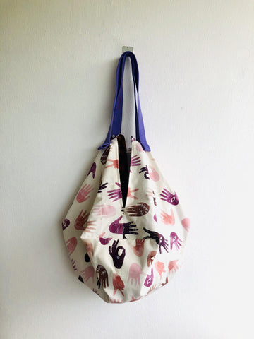 Origami sac bag , handmade reversible shoulder bag , cool print bag | echame una mano prima