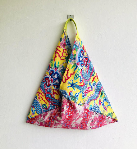 Origami bento bag , tote shoulder bag , fabric triangle bag , shopping bag | Yellow lucky dragon & Japanese cherry blossoms