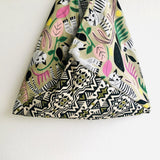 Origami bento bag , ooak handmade tote bag , eco friendly Japanese inspired bag | Hiding in the jungle and having fun