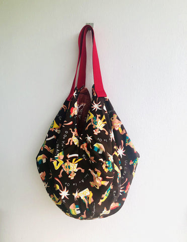 Shoulder sac bag , origami sac bag , eco friendly shopping bag | Aloha! We are in Hawaii riding the waves