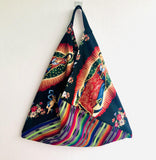 Shoulder origami bag , Mexican inspired colorful tote bag | la llamada