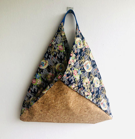 Shoulder bento bag , fabric eco friendly cork tote bag | Japanese crane  & cork with golden sparkle
