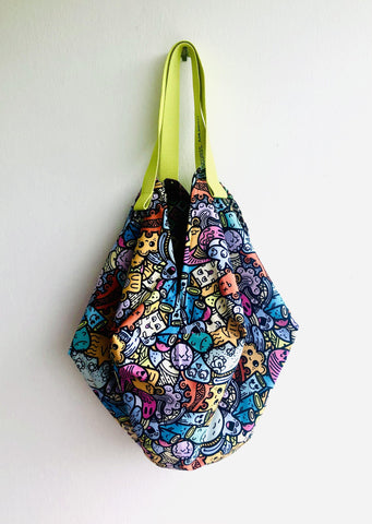 Origami sac bag , reversible fabric eco bag , shoulder shopping tote sac bag | Mostrencos