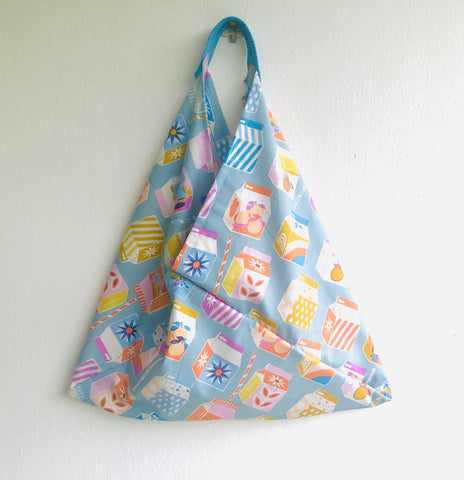 Origami tote bag , triangle cool bento bag , Japanese inspired tote bag | Colorful tetra batik  world