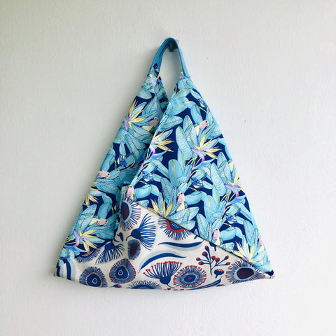 Origami bento bag , shoulder fabric eco bag | Blue paradise