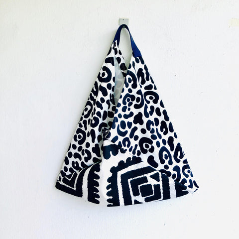 Origami bento bag , shoulder tote bag , eco friendly shopping bag | Black & white textures