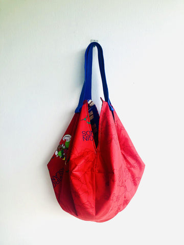 Origami sac bag , reversible shoulder bag , eco friendly colorful tote bag | Travelling in my dreams to the Virgin Islands