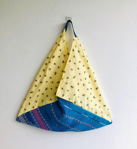 Shoulder bento bag , origami tote bag , eco friendly fabric shopping bag | Abejas en Yucatán