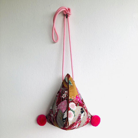 Origami dumpling bag , pom pom triangle small shoulder bag , Japanese inspired bag | Golden geishas