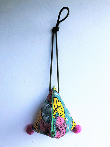 Origami small shoulder bag, dumpling cool fabric cross band bag , pom pom bag | Tropical lotus