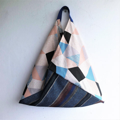 Shoulder eco friendly bag, bento origami Japanese fabric bag | Japanese geometries & Korean print