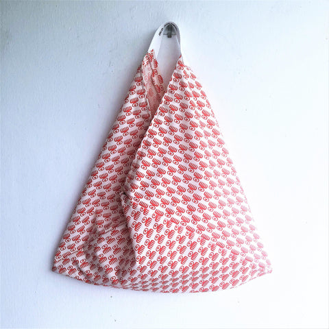 Origami bento shoulder bag, ooak eco friendly triangle tote bag |  Cute Humanoid