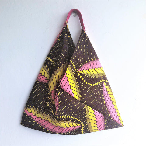 African fabric tote bag, origami bento bag, shoulder triangle bag | African forest