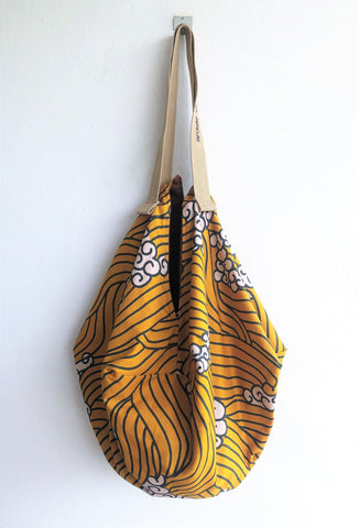 Origami shoulder sac bag, Japanese print fabric, Japanese wave, eco friendly bag | Japan wave