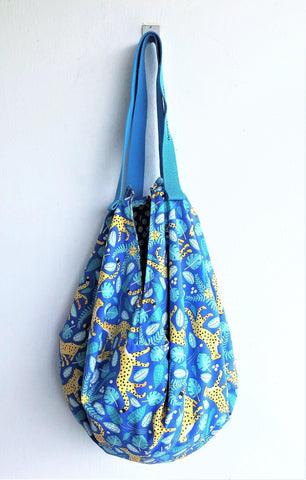 Sac origami bag, shoulder eco friendly shopping reversible bag } Leopards