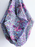 Shoulder fabric origami bag, summer bag, eco friendly tropical print bag | After the rain
